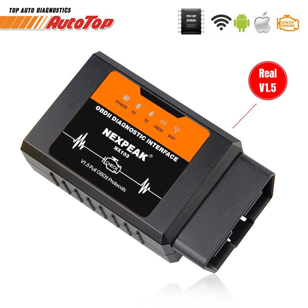 ELM327 V1.5 WIFI OBD2 adaptateur PIC18F25K80 OBD 2 Scanner voiture Auto Diagnostic-outil Scanner OBD EML327 pour iPhone IOS WI-FI ELM 327