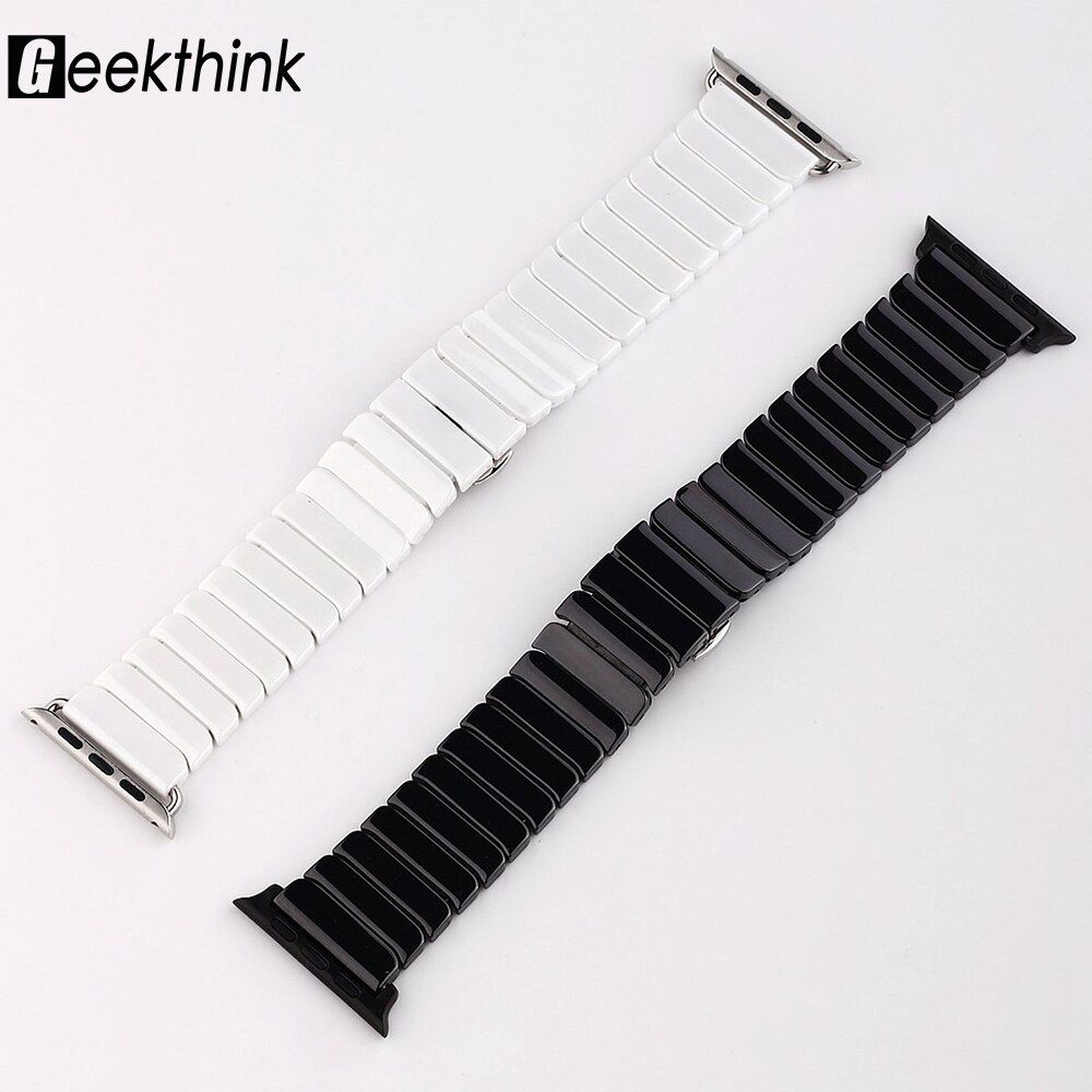 Top quality Butterfly clasp Lock Link loop band Ceramic for Apple Watch band link bracelet strap 38mm 42mm for iwatch