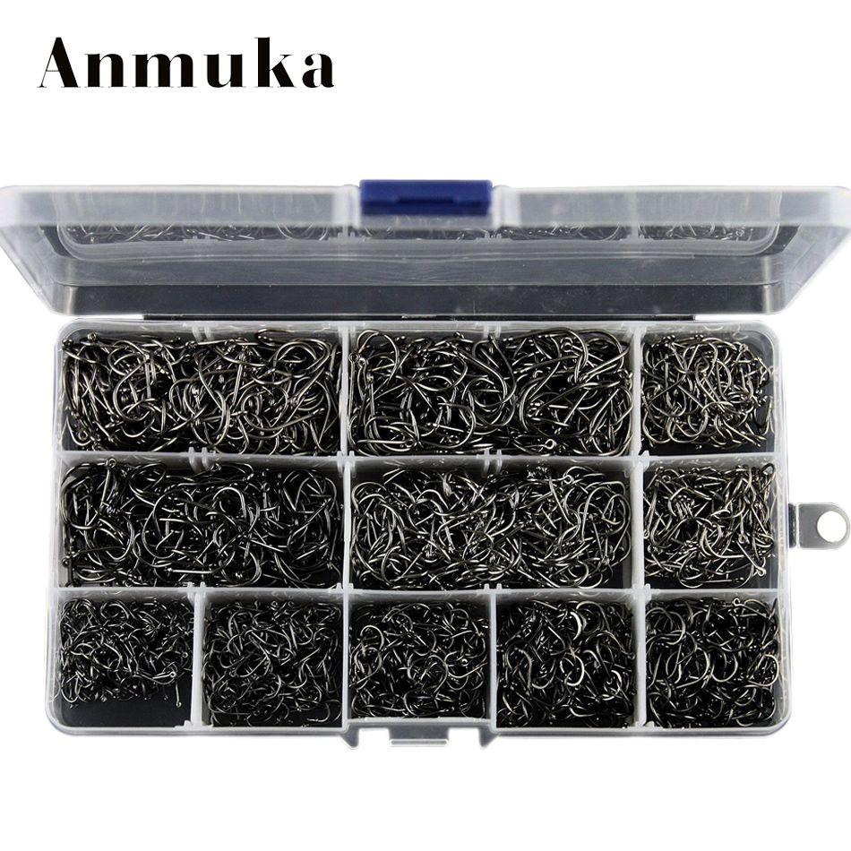 Anmuka Hight Qualität Groß Sharped 3-12 # angelhaken box 800/1600/2000 stücke silber/schwarz Ring Geschmiedetem Kohlenstoffstahl Haken Großhandel