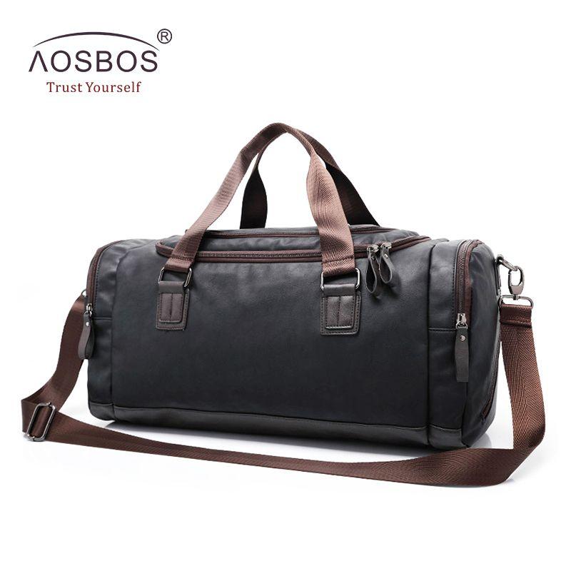 Aosbos Neue Pu-leder Sporttasche Ausbildung Sporttasche für Frauen Männer Fitness Taschen Outdoor Schulter Reisen Lagerung Duffel Handtaschen