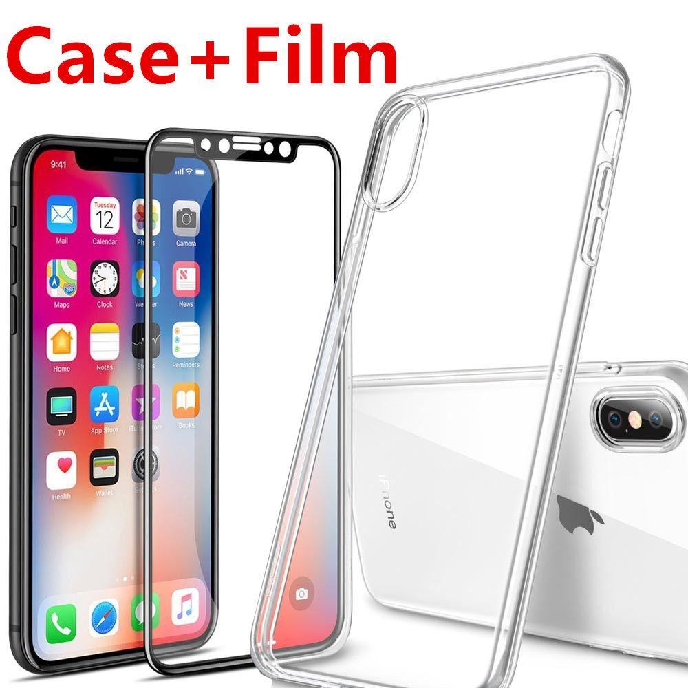 Für Apple iPhone X 10 Displayschutzfolie Gehärtetem Glas Voll Abdeckung 3D 4D Gebogene Kante Schutzfolie Full Coverage + TPU Fall
