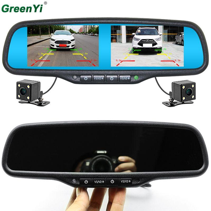 GreenYi Rückfahrkamera Parkplatz Kamera Auto Monitor Nachtsicht 800*480 Dual-Screen-Auto Innenspiegel Monitor Video-eingang