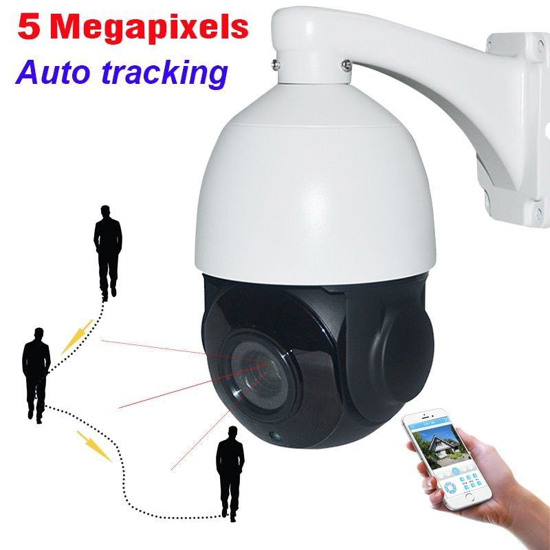 Security H.265 Auto Tracking 5MP PTZ Camera High Speed 5 Megapixels Network IP Auto Tracker 30X ZOOM IP66 P2P Mobile View Audio