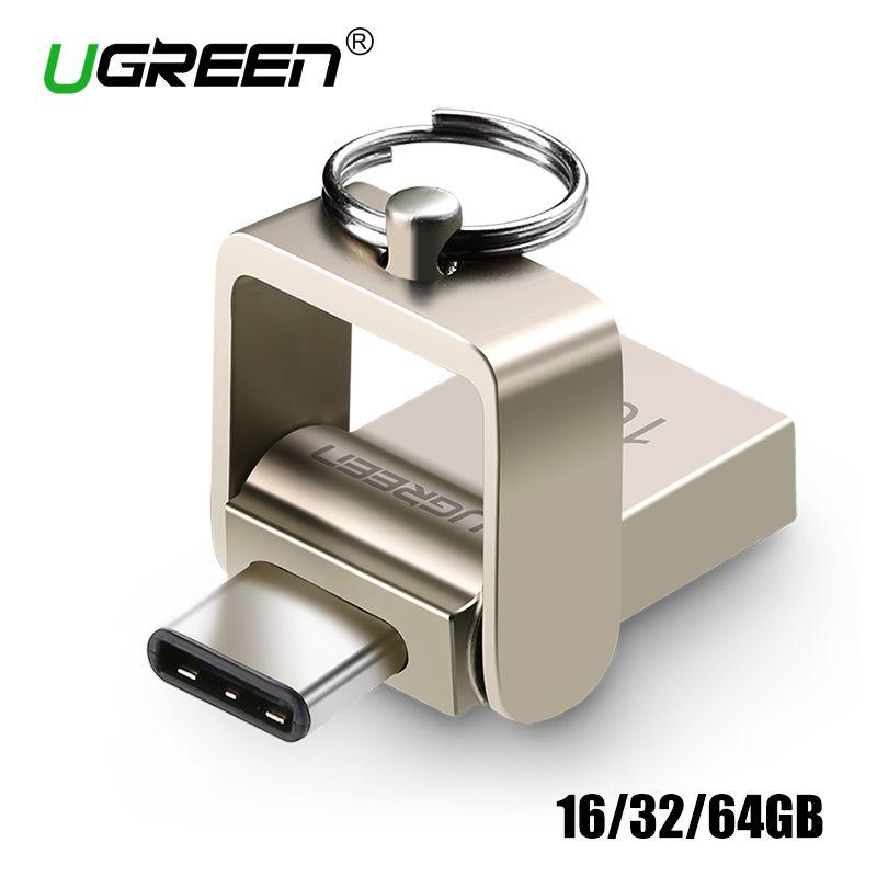 Ugreen OTG USB Flash Drive de 32 GB de Metal USB 3.0 Pen Drive Clave 64 GB de Tipo C de Alta Velocidad Mini pendrive Flash Drive Memory Stick de 16 GB