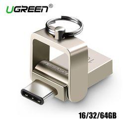 Ugreen USB Flash Drive 32 GB OTG Métal USB 3.0 Pen Drive Key 64 GB Type C Haute Vitesse Mini-clé usb Flash Drive Memory Stick 16 GB