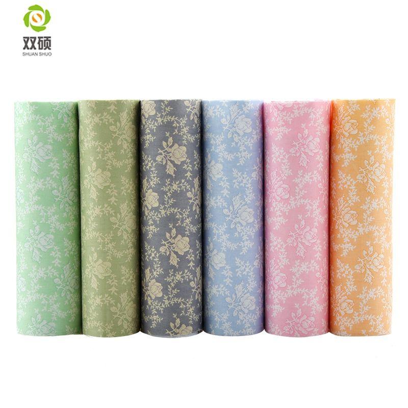 Shuanshuo 6 pcs/lot, Rose Imprimé Sergé Coton Tissu, patchwork Tissu Pour Le BRICOLAGE Quilting Couture Bébé & Enfants Feuilles Robe Matériel