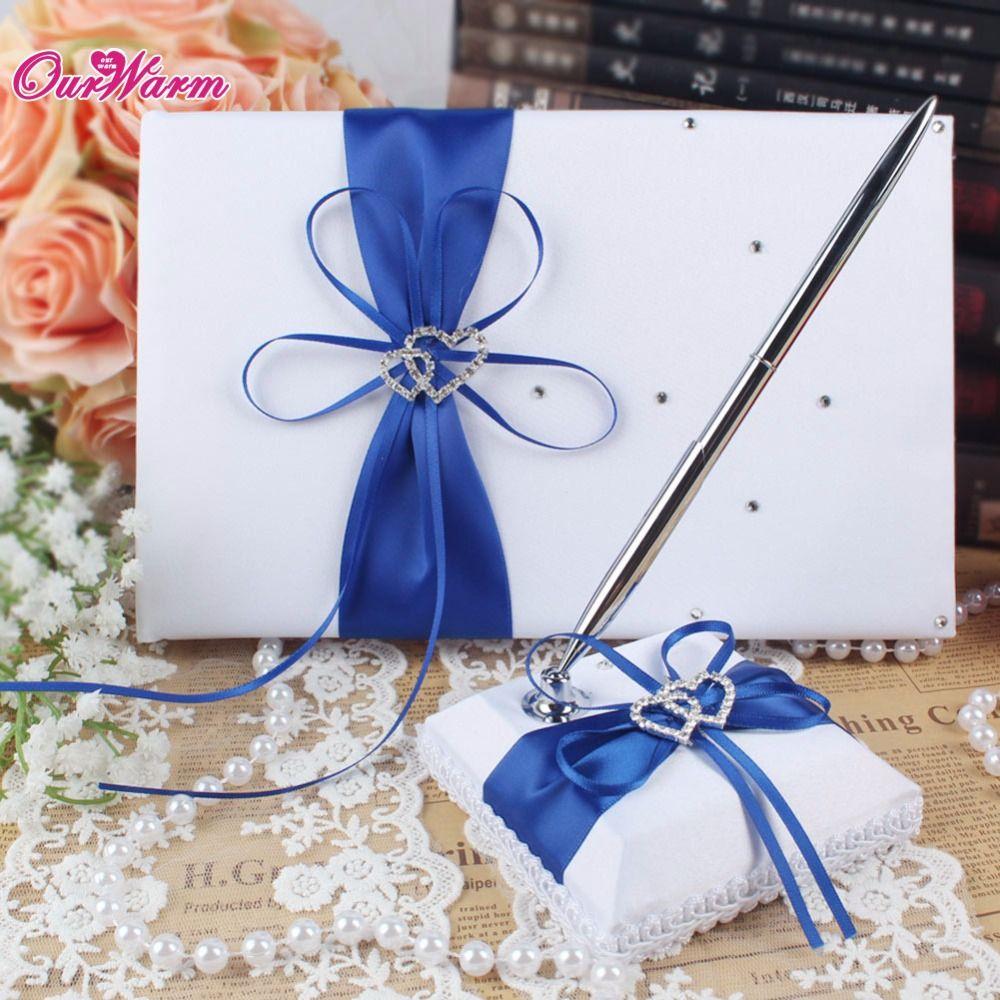 OurWarm 2 pièces Mariage Communion Décoration Livre D'or Signature avec porte-stylo Satin Double Coeur Décoration De Fête De Mariage