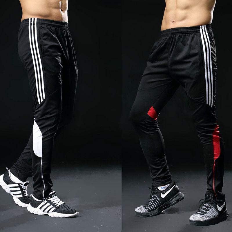 2019 Hot <font><b>Sale</b></font> Sports Pants For Men Fitness Gym Football Leggings Thin Running Soccer Training Long Pants Futbol Trouser White