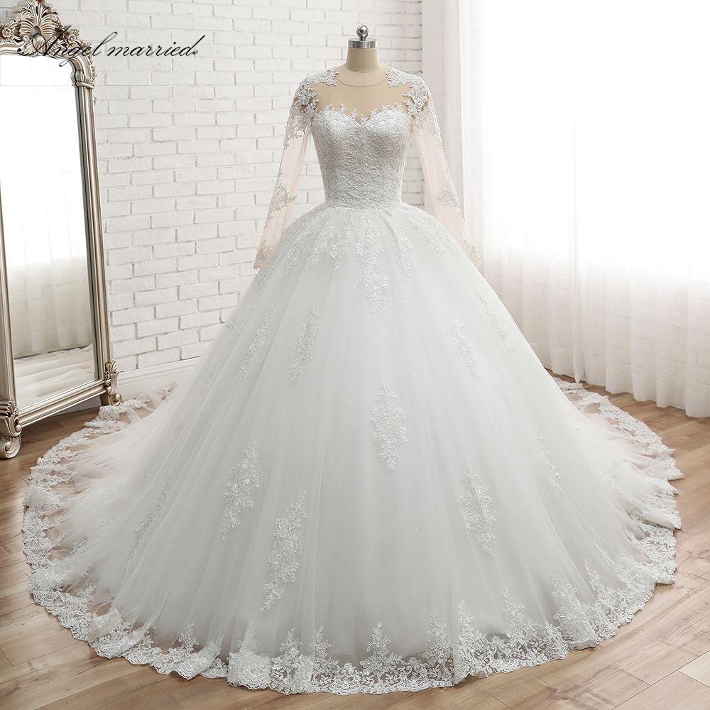 Angel married Wedding Dresses long sleeve Robe De Mariage Vestido De Noiva lace Princess Ruffle White Ivory bridal gown