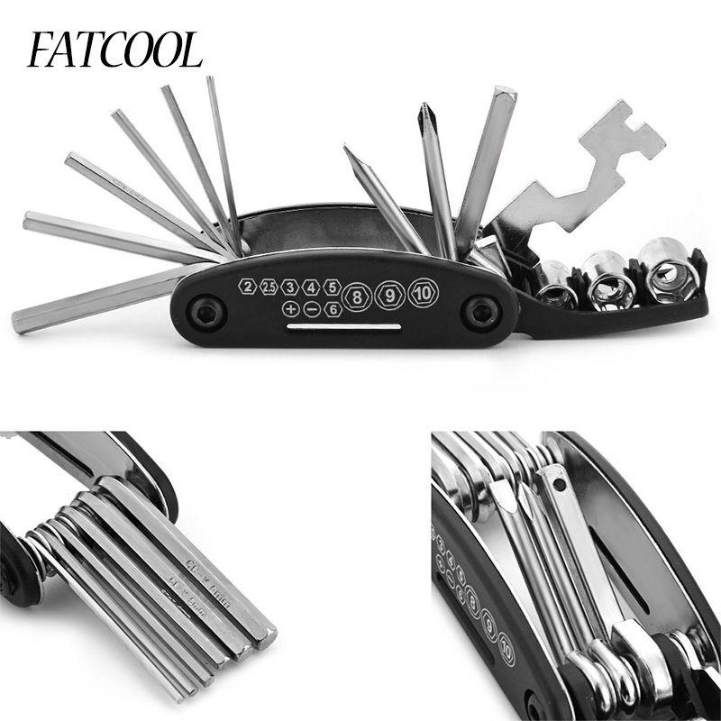FATCOOL 16 In 1 Fahrrad Reparatur Zu Kit Multifunktionale Speichenschlüssel Stehen Werkzeug Hex Speichen Radfahren Für Outdoor Klettern Werkzeug