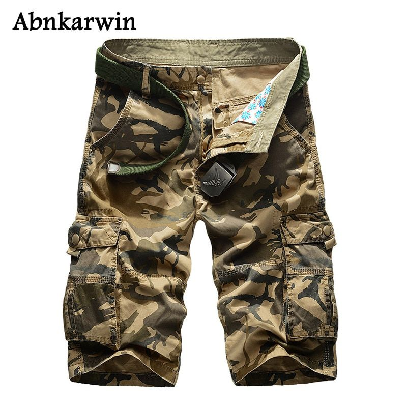 Abnkarwin 2018 New Summer Camouflage Cargo Shorts Men Loose Men's Military Trousers Size 29-44 Casual Man Short Pants No Belt
