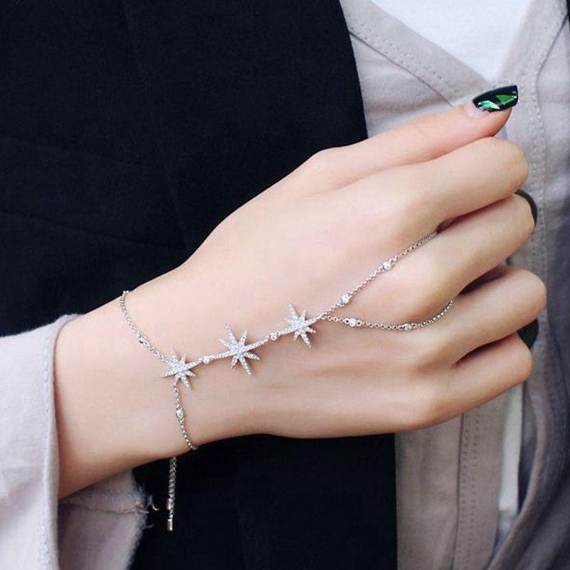 MIGGA À La Mode Zircon Cristal Étoiles Esclave Chaîne Bracelet pour les Femmes Doigt Main Réglable Chaîne Bijoux