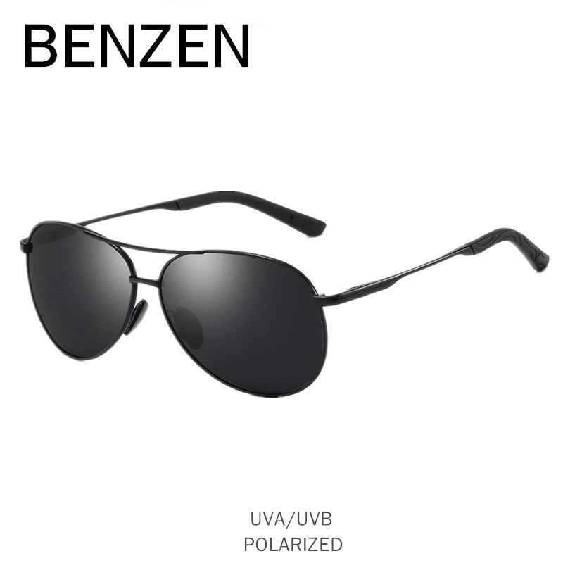 BENZEN Pilot Sunglasses Men Vintage Polarized Sun Glasses Male Glasses For Driving Classic Shades New Black With Case 9295