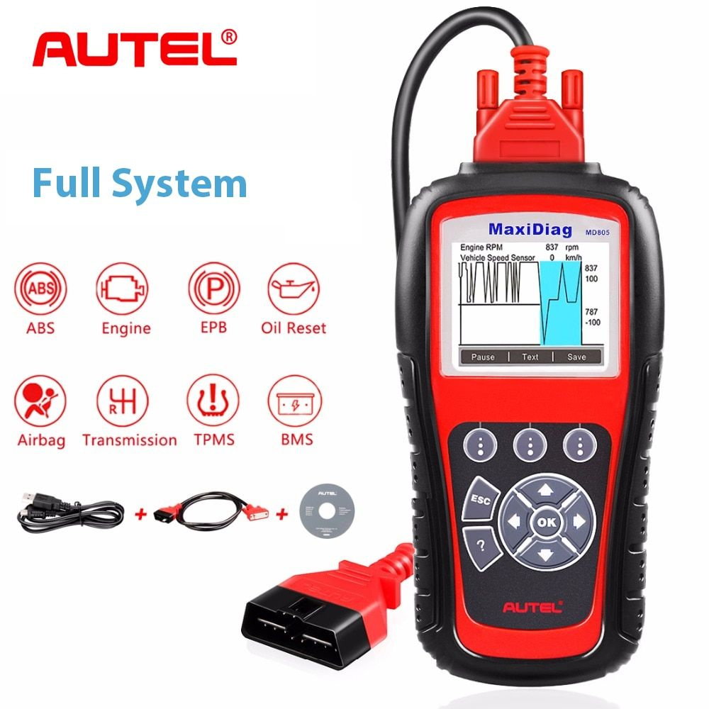 Autel MD805 All System Code Reader OBD2 Diagnostic Tool Support Engine OLS/EPB/transmission/Airbag MD805 better than MD802
