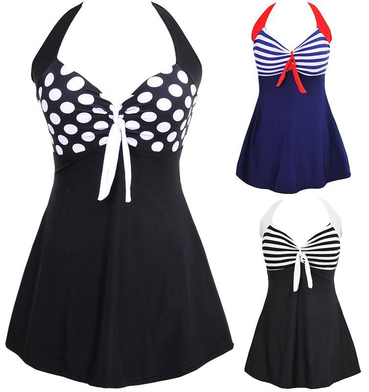 Sexy <font><b>Stripe</b></font> Padded Halter Skirt Swimwear Women One Piece Swimsuit Beachwear Bathing suit Swimwear dress Plus size M~5XL