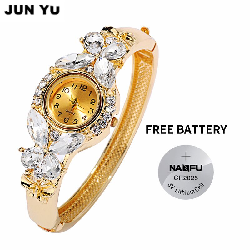 JUNYU Fashion Classic Aleación de Oro Relojes de Las Mujeres Reloj Pulsera de la Mariposa de la Piedra Preciosa Reloj Vestido de Las Mujeres Relojes Nuevo Reloj de Cuarzo
