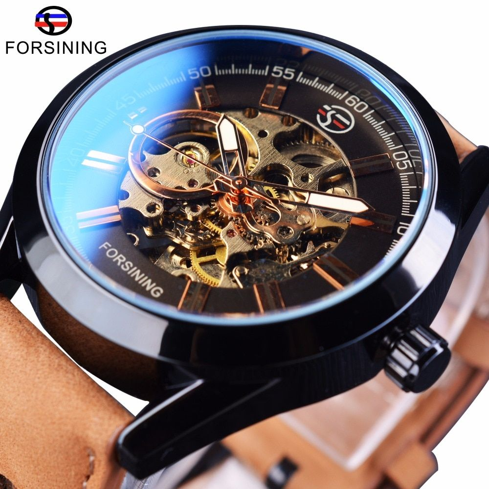 Forsining 2017 Mens Casual Sport Watch Genuine Leather Top Brand Luxury Army Military Automatic Men's Wrist Watch Skeleton Clock