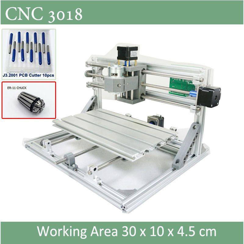 CNC 3018 гравер с ER11 Зажимы с лазерной вариант 500 МВт 2500 МВт 5500 МВт для печатных плат фрезерования древесины мягкий металл, гравировка