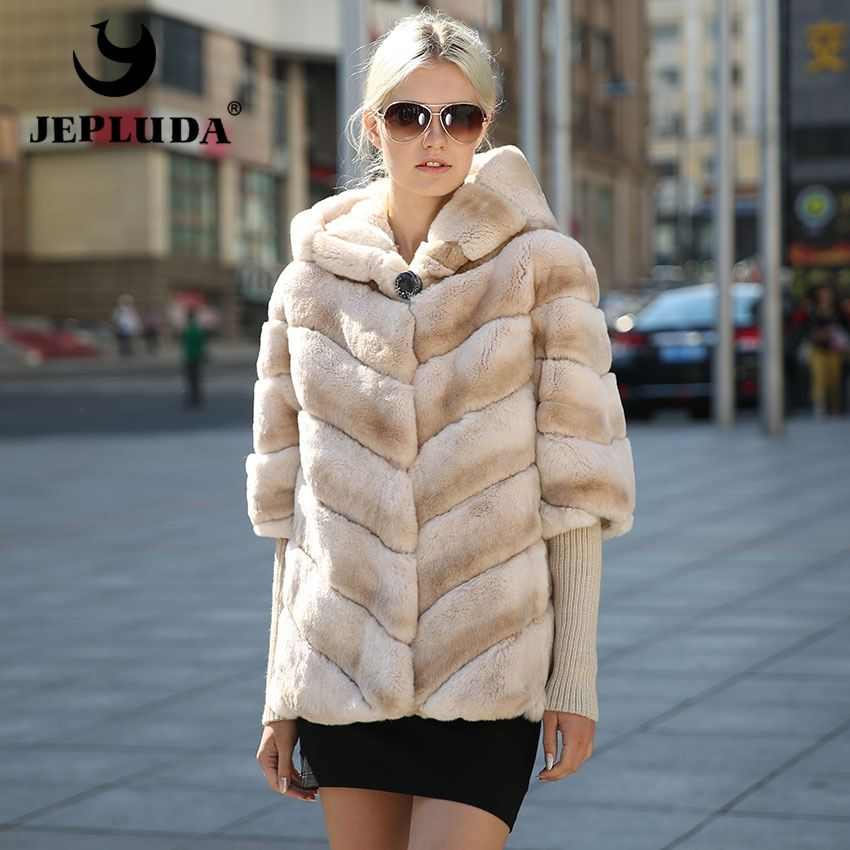 JEPLUDA Hot Sale Women Natural Real Rex Rabbit Fur Coat Removable Sleeves With Hood Real Fur Coat New Fashion Women Fur Jacket