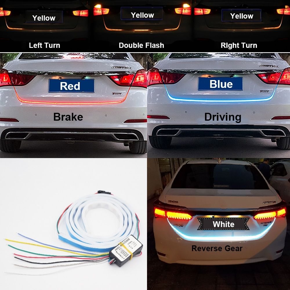 120cm 150cm Undercarriage Floating Led Dynamic Streamer Turn Signal Tail Reverse LED Warning Lights Luggage Compartment Lights