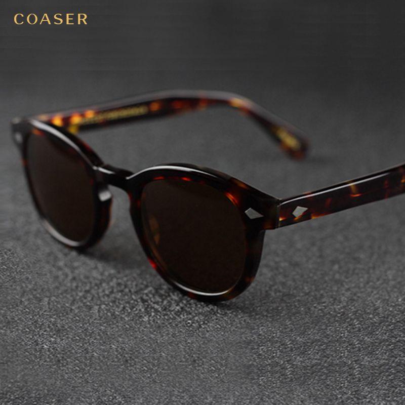 COASER NEW Vintage Round Acetate EyeglassesPolarized Sunglasses Men Women Brand Designer Gafas De Sol Eyeglasses oculos de grau