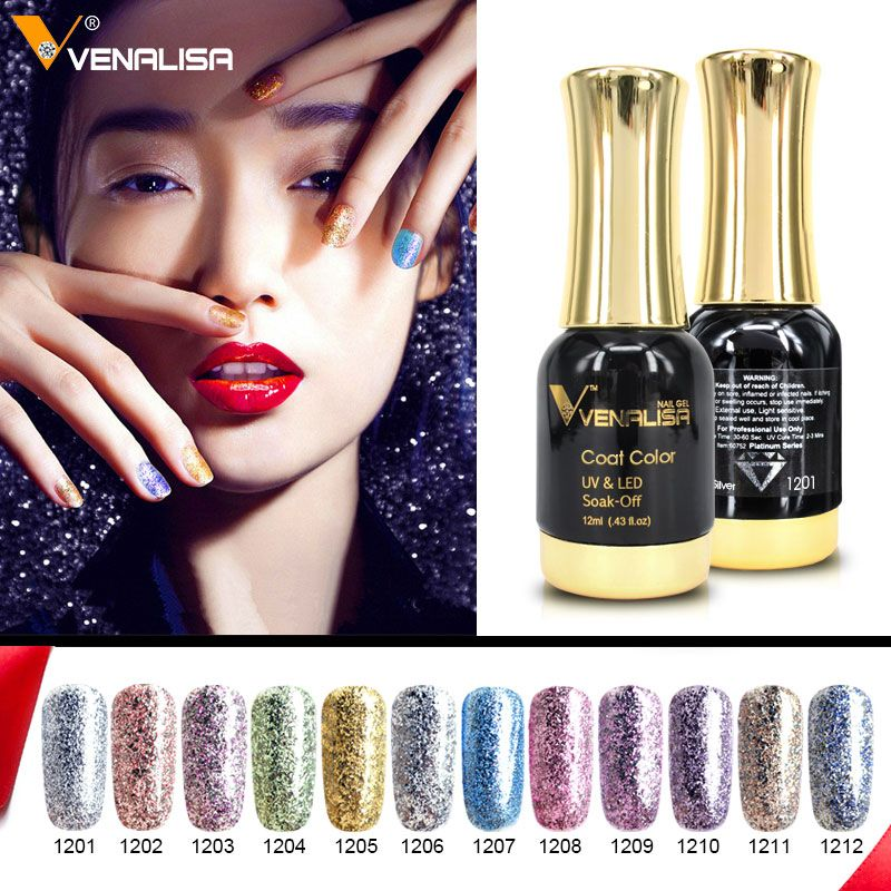 12pcs*12ml Venalisa Platinum Gel Nail Polish Nail Art Gel Polish Soak off UV LED Gel Varnish Starry Color Bling Nail Gel Lacquer