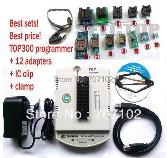 Nuevo USB TOP3000 programador universal EPROM MCU PIC AVR 12 adaptador + SOP8 clip clamp + casquillo de más de 30000 IC