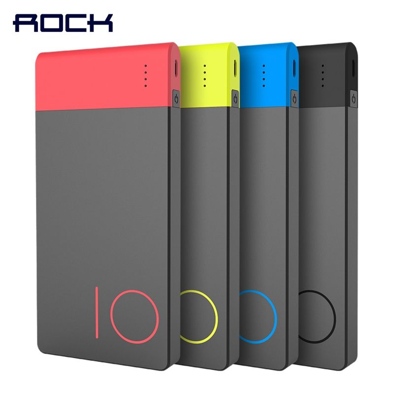 Colorful 10000mAh Power Bank, ROCK Slim External Battery Portable Power Bank 10000 mAh Fast Charging Powerbank