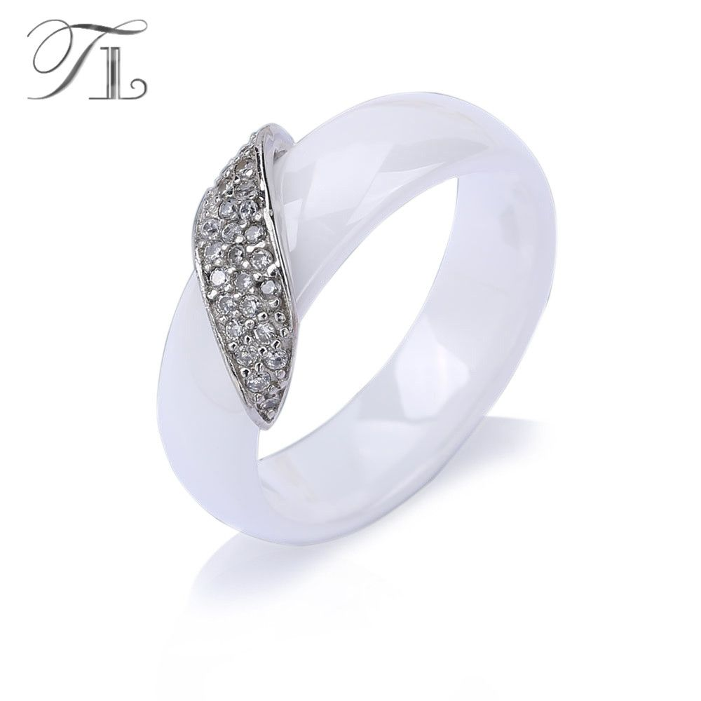 TL New Fashion White&Black Ceramic Rings for Women Brand Wedding Stainless Steel Rings Inlay Cubic Zircon Stone Ceramic Jewelry