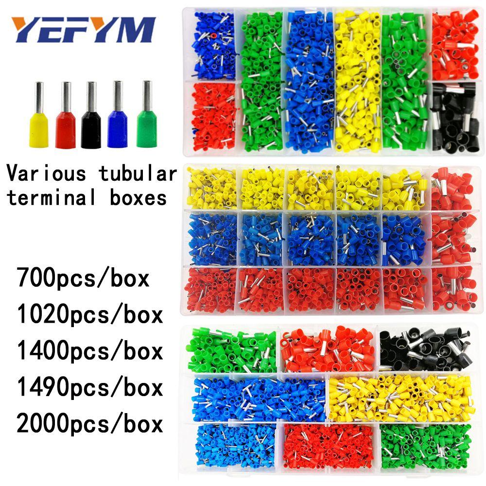 Terminal tubulaire en boîte divers styles connecteur de câblage électrique sertissage des bornes de tube isolées pour fil 0.5mm2-10mm2