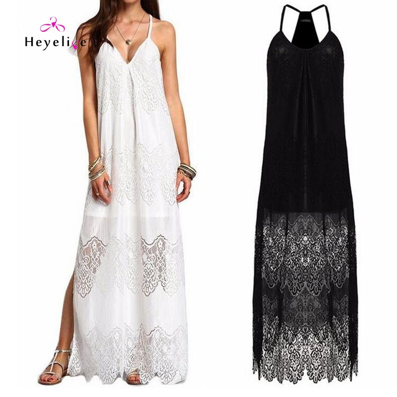 Long Dress Bikini Cover Ups Women Dress Solid  Lace Sexy Beach Tunic Swimsuits Cover Ups Plus Size Beach Sarongs Summer Dress