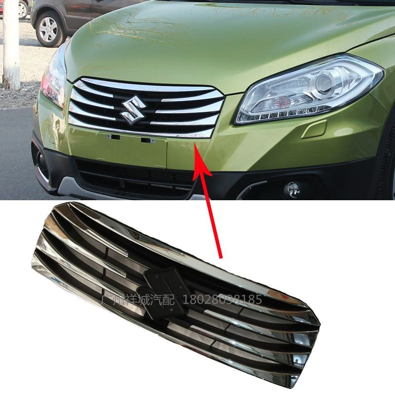 For Suzuki S-Cross SX4 2014-2017 Front Grill Gill Replacement Cover Trim Chromed ABS Plastic Car-styling