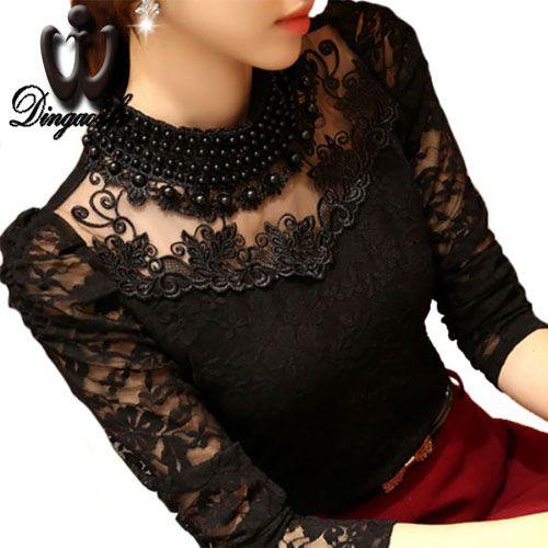 Dingaozlz 5XL Sexy couverture en dentelle 2018 blusas nouveau Slim grande taille dentelle blouse à manches longues décontracté perlée ajouré femmes vêtements