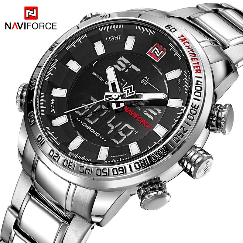 NAVIFORCE Top Brand Men Military Sport Watches Mens LED Analog Digital Watch Male <font><b>Army</b></font> Stainless Quartz Clock Relogio Masculino
