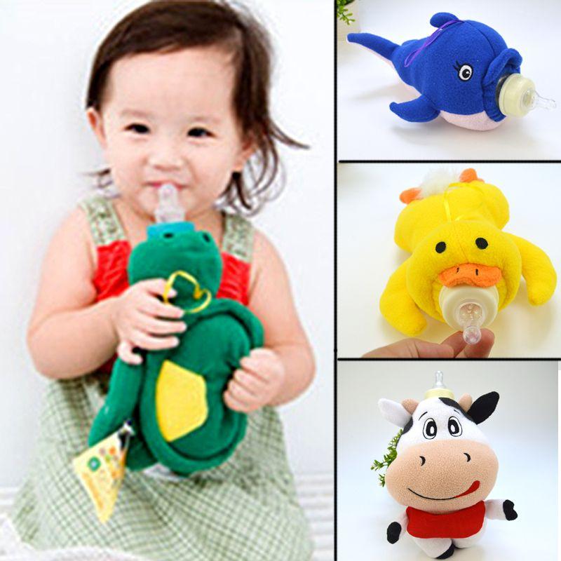 SCYL 500ml Baby bottle cover Cartoon soft stuffed animal baby bottle holder baby bottle bag Gift for children