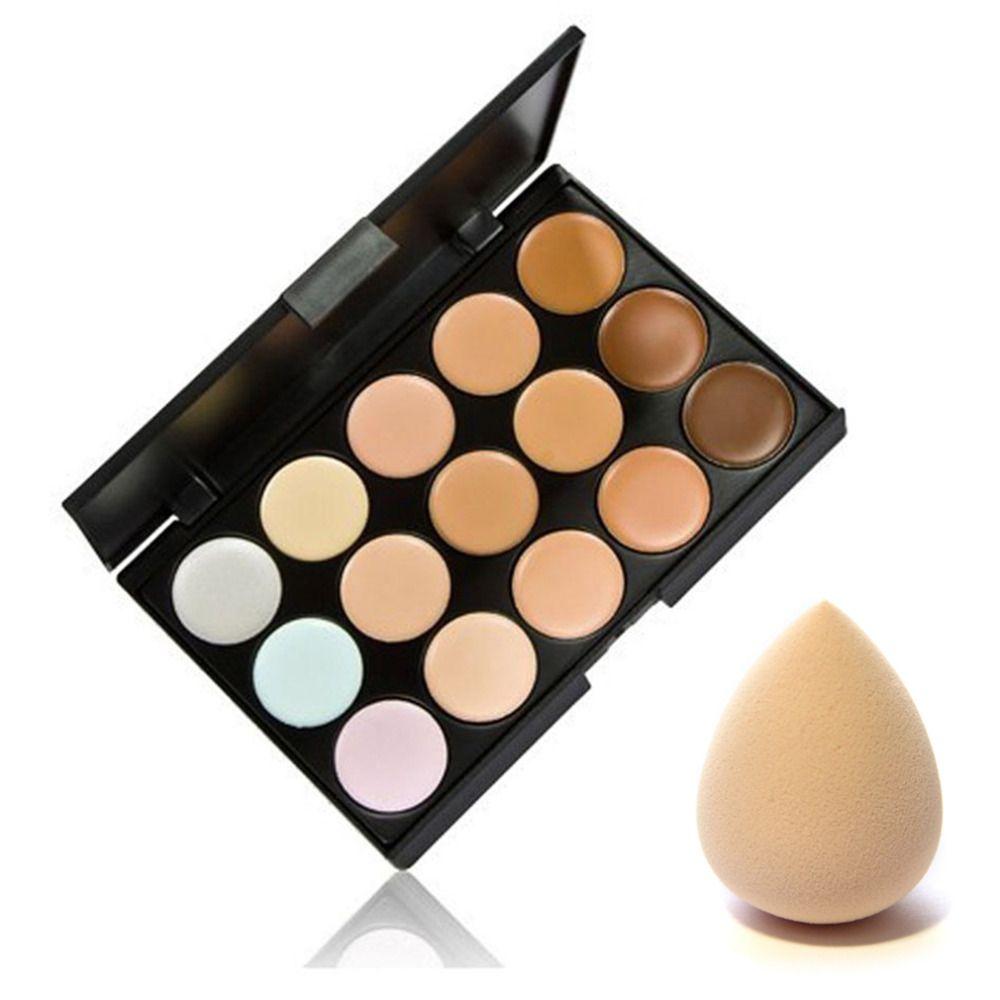 15 Couleurs Contour Palette Crème Pour Le Visage Maquillage Correcteur Palette & Éponge Puff Cosmétiques Maquillage Set Outil Chaud Vente Nouvelle Qualité