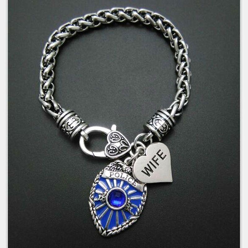 My Shape Chain Bracelet Men Badge Police Charm Mom Daughter Bracelet Wife Sister Be Safe Brancelets Bangles Pendant DIY Jewelry