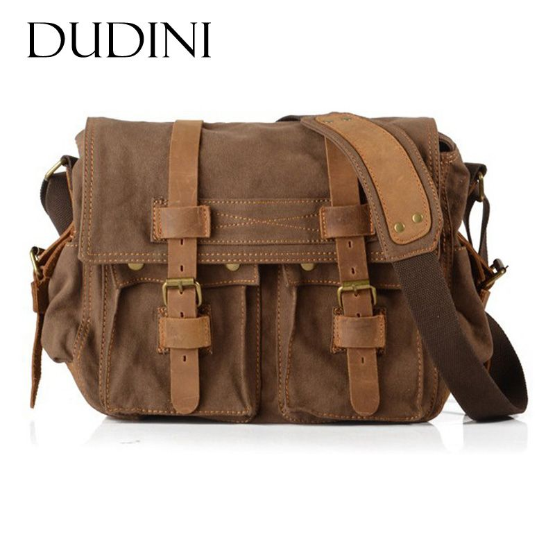 [DUDINI] Canvas Bags With Crazy Horse Leather Men Shoulder Bag Vintage Business Fashion Messenger Bags Crossbody Men's Briefcase