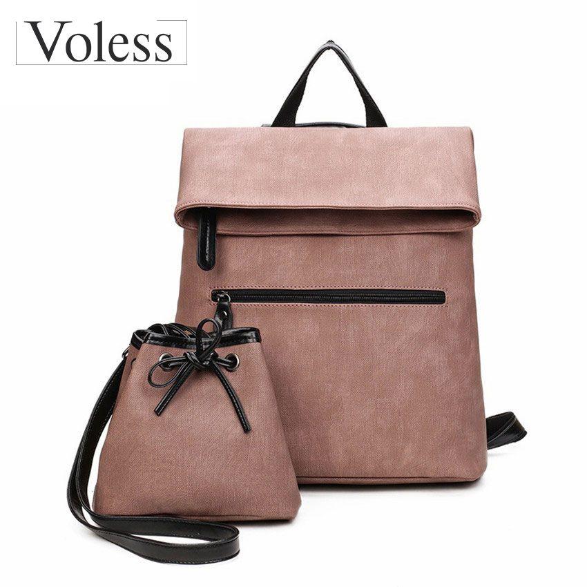 Новый 2 шт. рюкзак Для женщин Racksack школьный женские розовые женские кожаные рюкзак моды школьный Женские портфели для подростков Обувь для д...