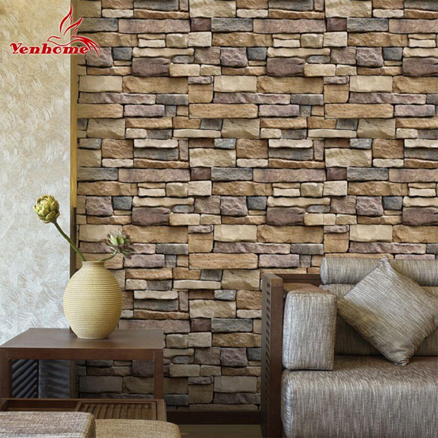 5M DIY Self Adhensive Brick Wall <font><b>Stickers</b></font> Living Room Home Decor PVC Vinyl Waterproof Wall Covering Wallpaper For TV Background