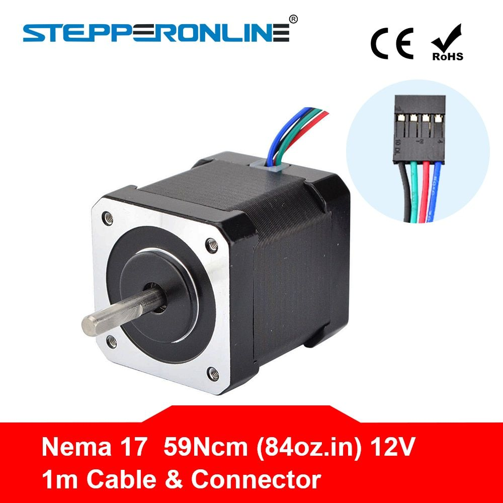 Nema 17 Stepper Motor 48mm Nema17 Motor 42BYGH 2A 4-lead (17HS4801) Motor 1m Cable for 3D Printer CNC XYZ Motor