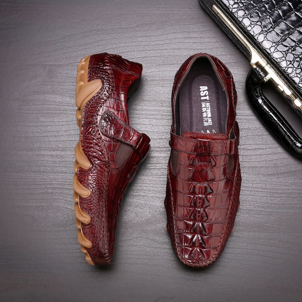 Men's Octopus Genuine Leather Driving Shoes Crocodile Slip On Loafers For Men's Casual Shoes Moccasins Business Clogs Shoes New