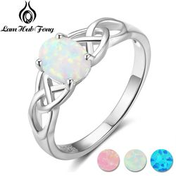 Elegant Oval White Pink Blue Opal Rings for Women 925 Sterling Silver Braided Ring Wedding Engagement Ring 6 7 8 (Lam Hub Fong)