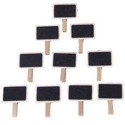 10 unids mini clip Pizarras palabras mensaje Pizarras decoración pizarra de madera en forma de clip para el banquete de boda