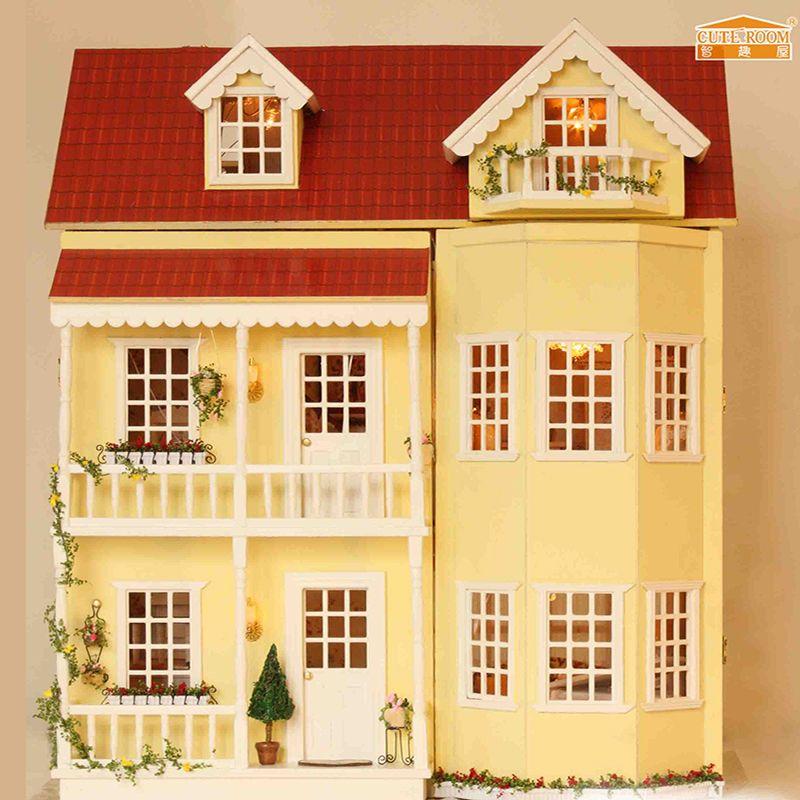 Meubles BRICOLAGE Poupée Maison Wodden Miniatura Poupée Maisons Meubles Kit DIY Puzzle Assembler Dollhouse Jouets Pour Enfants cadeau A010