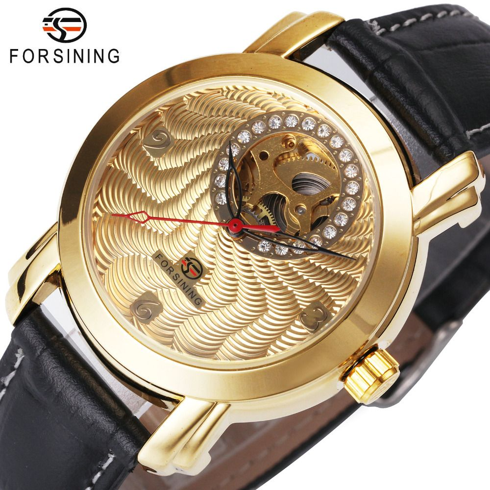 FORSINING Luxury Men Women Mechanical Watches 2017 Fashion Lover's Gift Crystal Decoration Delicate Dial Louvre Series Hollow
