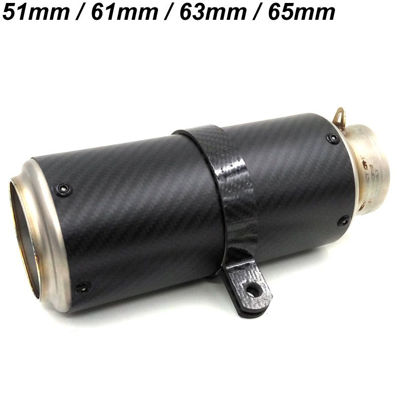Inlet 51mm 61mm 63mm 65mm Customized Motorbike Exhaust Muffler Pipe with DB Killer Titanium Alloy Carbon Fiber Muffler Escape
