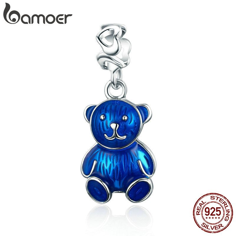 BAMOER 100% 925 Sterling Silver Blue Enamel Cute Little Bear Pendant Charm fit Women Bracelet & Necklaces DIY Jewelry SCC533