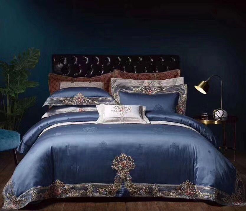 1000TC Ägyptischer Baumwolle Chic Home Navy Blau 4 Stück Premium Stickerei Bettbezug Bett blatt oder Ausgestattet blatt Königin König größe