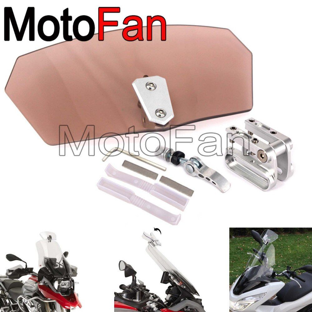Universal Motorbike Clip On Windshields Extension Spoiler Windscreens Adjustable For Motorcycle Yamaha YZF R1 R3 R6 R15 R25